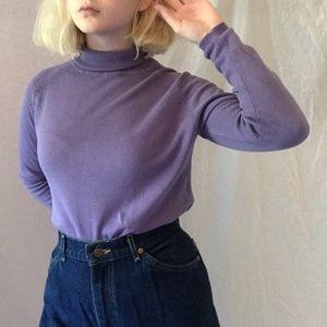 purple silk & cashmere turtleneck sweater